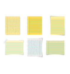 set paper lined paper and notebook paper on blank vector image