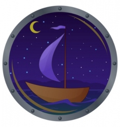 ship floats at night vector image