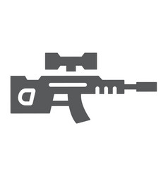 Sniper rifle glyph icon weapon and military gun vector