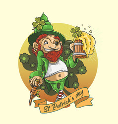st patricks day shamrock clover mascot vector image
