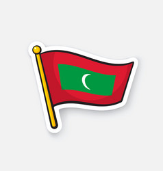 Sticker flag maldives on flagstaff vector
