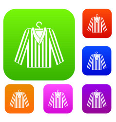 striped pajama shirt set color collection vector image