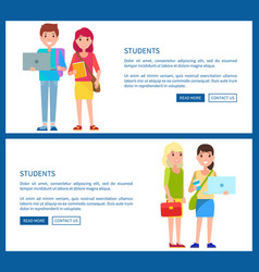 students boy and girls cartoon style web posters vector image