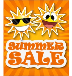 Summer sale background with smiling sun vector