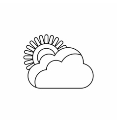Sun and cloud icon outline style vector