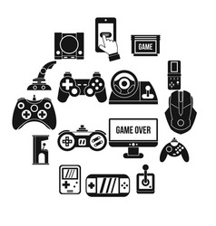 video game icons set simple style vector image