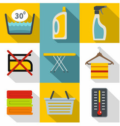 washing dirty clothes icons set flat style vector image