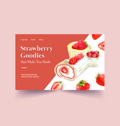 Website template with strawberry baking design vector