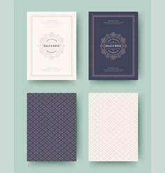 Wedding invitation save date cards vintage vector