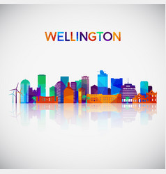 wellington skyline silhouette vector image