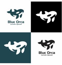 whale graphic sea orca logo vector image