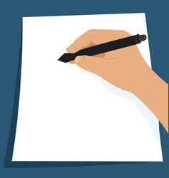 writing on the white sheet of paper vector image