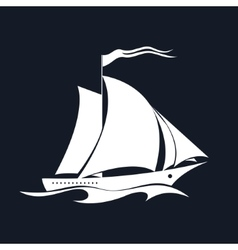 Yacht Isolated on Black vector