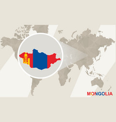 Zoom on mongolia map and flag world map vector