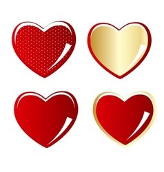 Set of red and gold heart vector image