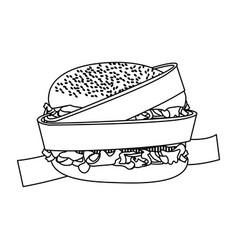 Silhouette measuring tape around burger diet food vector