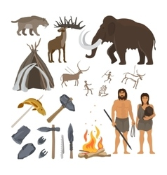 Stone age icons set vector