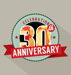 30th Years Anniversary Celebration Design vector image