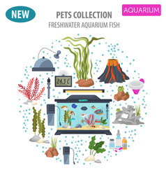 aquarium appliance icon set flat style isolated vector image vector image