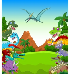 Dinosaur cartoon with landscape background vector image