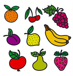 fruits and berries icons vector image