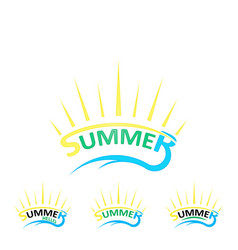 set summer logo vector image