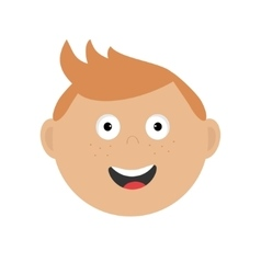 Smiling boy head Cute cartoon character with red vector image