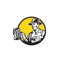 Bavarian Beer Drinker Mug Circle Woodcut vector image vector image