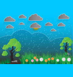 Blue landscape with trees rocks sky gray clouds vector