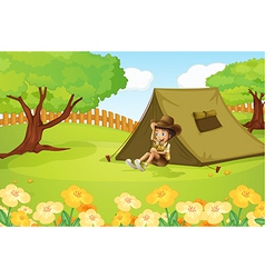 Boy and a tent vector image vector image