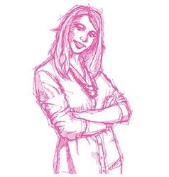 businesswoman folded hands vector image