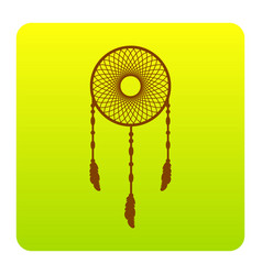 dream catcher sign brown icon at green vector image