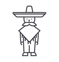 mexican manmariachi line icon sign vector image