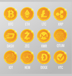 set of cryptocurrency gold coins with vector image
