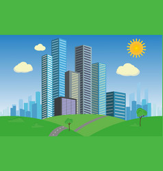 business city on green summer grass vector image