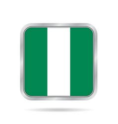 flag of nigeria metallic gray square button vector image vector image