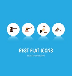 Flat icon lawyer set of hammer court law and vector