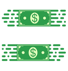 logo fast transfer money dollar bill fast motion vector image vector image