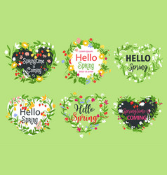 spring greeting icons of heart flowers vector image vector image