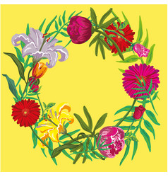 summer floral design with yellow background vector image