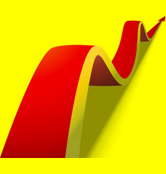 Wavy red arrow on yellow background vector
