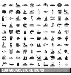 100 aquaculture icons set simple style vector