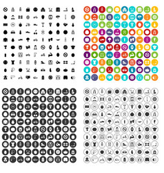 100 fitness icons set variant vector