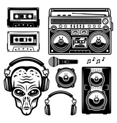 Alien in headphones and musical equipment set vector