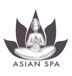 Asian spa salon isolated icon woman in lotus yoga vector
