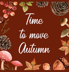 Autumn-themed border frame seasonal maple oak vector