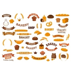 Bakery and pastry elements for design vector image