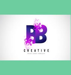 Bb b b purple letter logo design with liquid vector