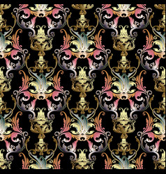 beautiful baroque damask 3d seamless vector image