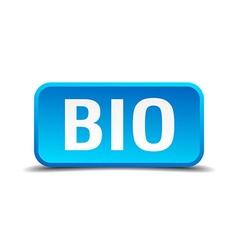 bio blue 3d realistic square isolated button vector image
